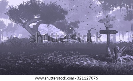 Misty night forest with silhouette of a grim reaper in the distance. Monochromatic 3D illustration was done from my own 3D rendering file. - stock photo