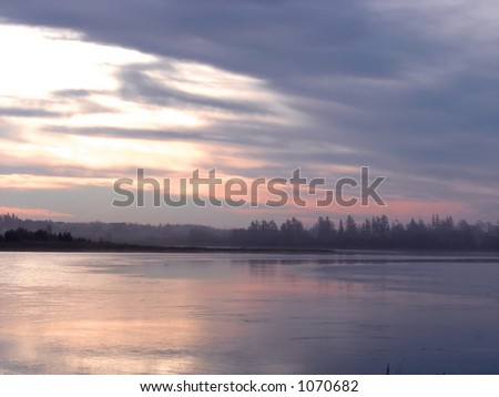 Misty river in the early morning - stock photo