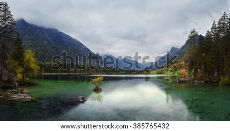 Misty summer morning on the Hintersee  lake in Austrian Alps - stock photo