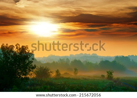 Misty sunrise - stock photo