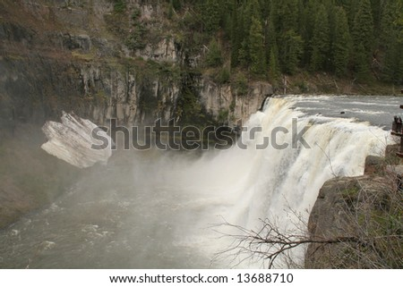 misty waterfall - stock photo