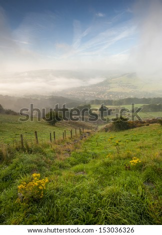 misty yorkshire dales valley in autumn - stock photo