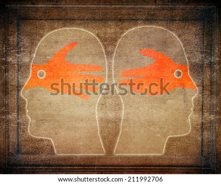 misunderstandings digital illustration concept - stock photo