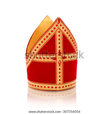 Mitre or mijter of Sinterklaas. Isolated on white backgroud. Part of a dutch santa tradition - stock photo