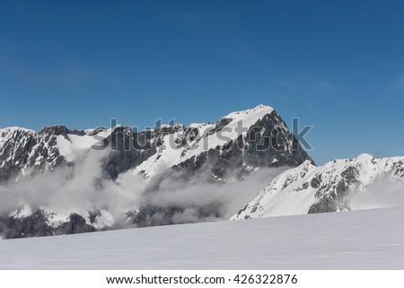 Mitre peak Milford sound New Zealand - stock photo