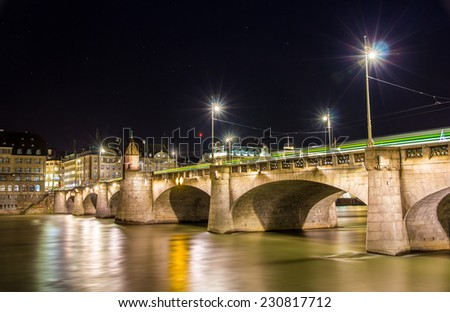 Mittlere bridge in Basel at night - Switzerland - stock photo