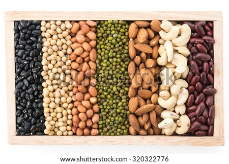 mix beans in wood block