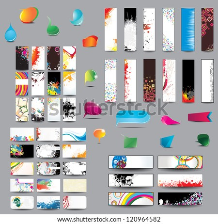 Mix Collection vertical and horizontal cards, headers ,bubbles for speech and elements for web design on different topics. Raster version