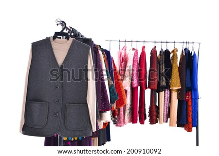 Mix color fashion female clothing on hanging