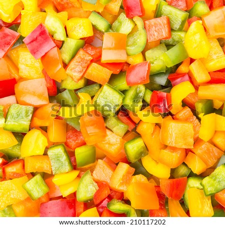 Mix colorful capsicums close up view - stock photo