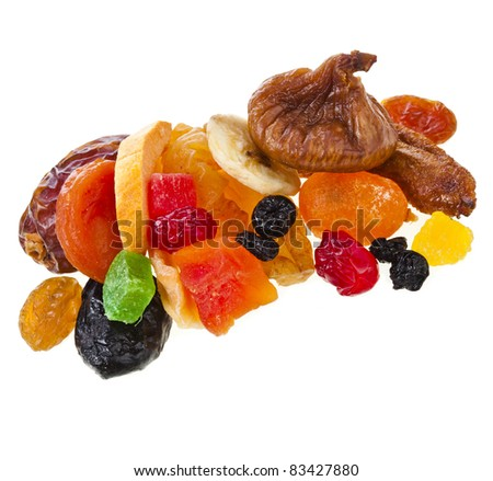 mix dried candied fruits  isolated on white background - stock photo