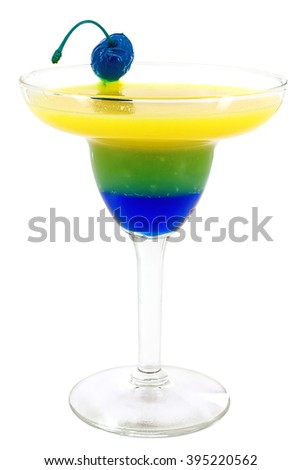 """MIX drink """"Chupacabras"""": Tequila, Pineapple juice, Blue Curacao, Banana syrup.  - stock photo"""
