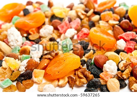 Mix dry fruit and nut n white background - stock photo