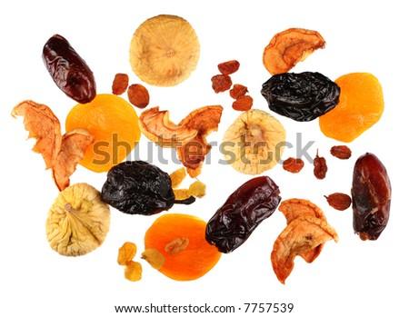 Mix dry fruit isolated on white background - stock photo