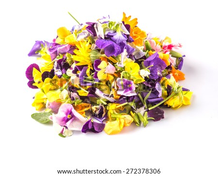 Mix edible flower salad over white background - stock photo