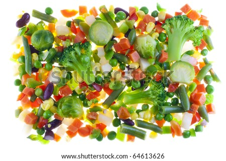 Mix from slices of raw vegetables for cooking isolated on white
