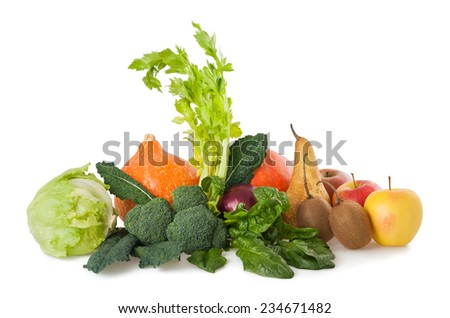 Mix fruits and vegetables isolated on white - stock photo