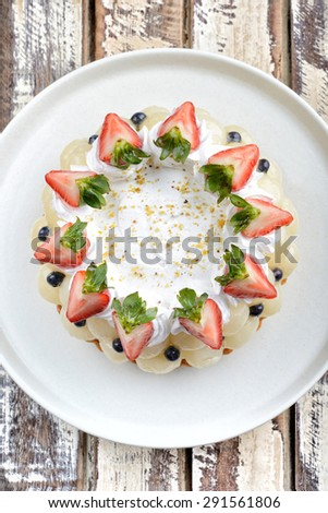 mix fruits cakes top view - stock photo