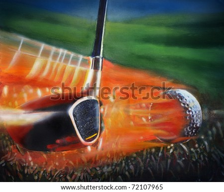Mix media illustration of Golf Club and Golf Ball. This illustration is perfect for a variety of different design projects. I am the artist of the original artwork. - stock photo