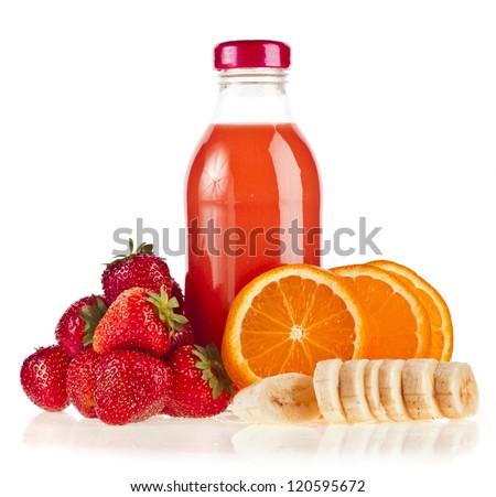 Mix multi-fruits juice bottles. Isolated on white background - stock photo