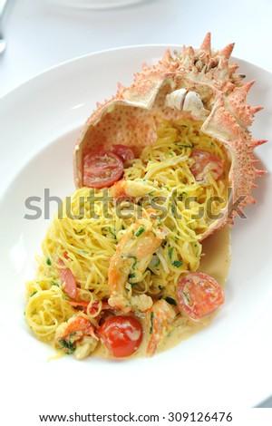 mix noodle crab - stock photo