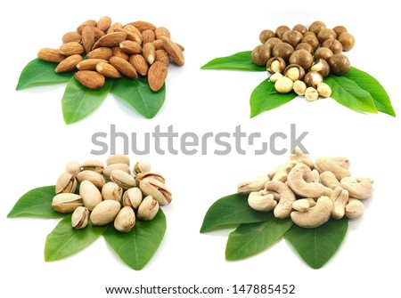 Mix Nut : almond, crust, macadamia and pistachio on white background. - stock photo