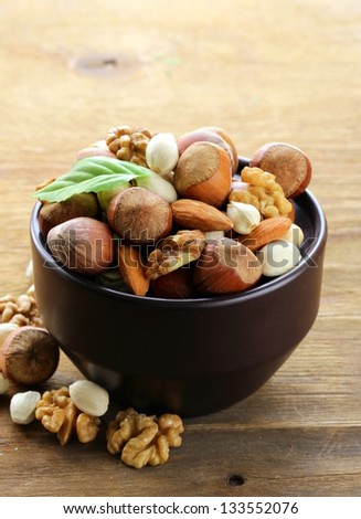 mix nuts - walnuts, hazelnuts, almonds - stock photo