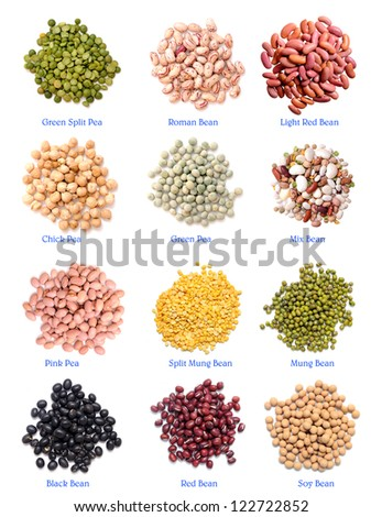 mix of bean and pea on white background - stock photo