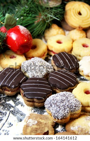 Mix of Christmas cookies with chocolate glaze and coconut - stock photo