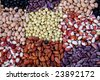 Mix of different type of colorful beans - stock photo