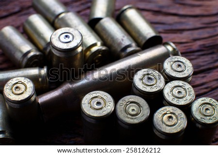 Mix of Empty Bullets / Rounds 9mm - stock photo