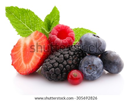 Mix of fresh berries isolated on white isolated on white - stock photo