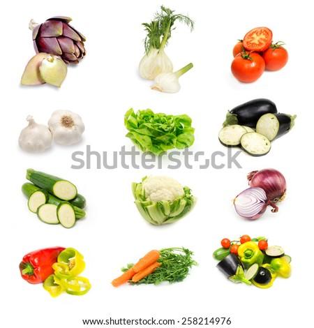 mix of fresh raw vegetables on white - stock photo