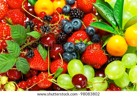 mix of fresh summer berries and fruits