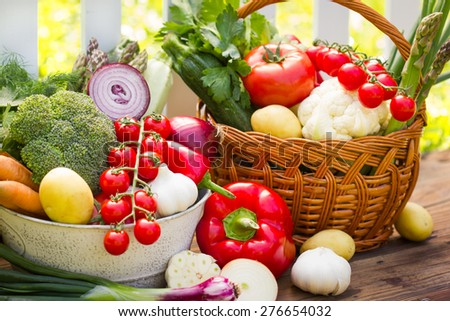 Mix of fresh vegetables in wicker basket