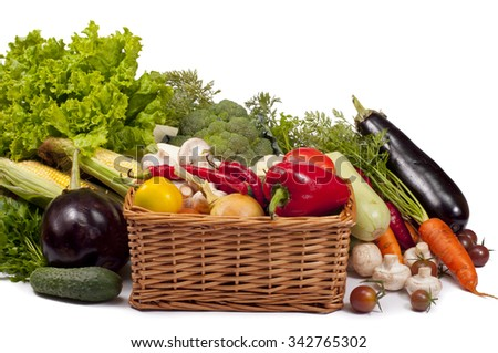 mix of fresh vegetables on a white background