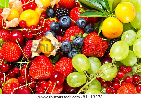 mix of fruits and berries - stock photo