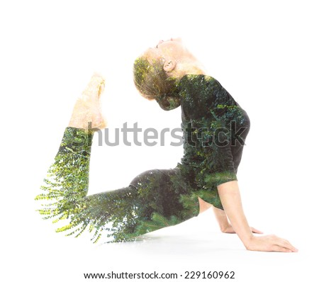 Mix of nature and female beauty represents healthy relationships between human and nature - stock photo