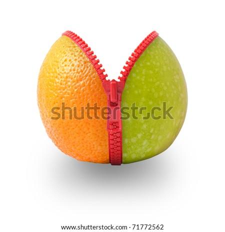 Mix of orange and apple - stock photo