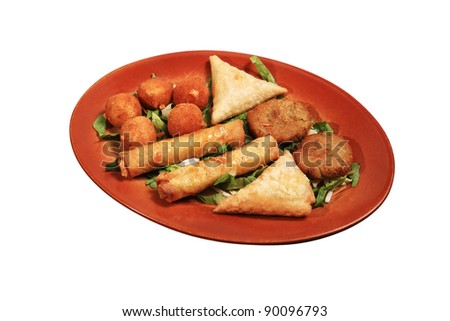 mix of pastry as a starter plate - stock photo