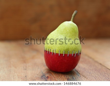Mix of Pear and apple - stock photo