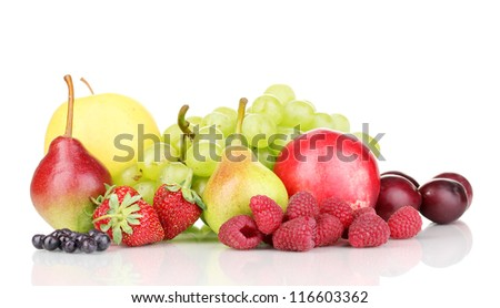 Mix of ripe sweet fruits and berries isolated on white - stock photo