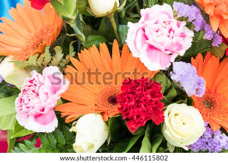 mix of summer flowers bouquet for the decorations - stock photo