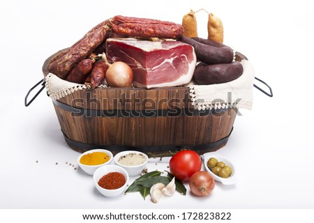 Mix of tradicional Portuguese food on a basket - stock photo