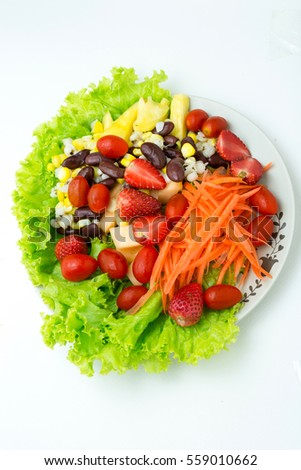 mix salad fruit and vegetable fresh,healthy food