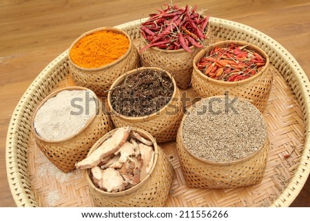 mix seasoning in basket, Thailand ,(Parsley, Chilli, Turmeric) Spices and herbs on wood background, mix spices, herbs difference ware on stone background with for design spices, herbs or foods content