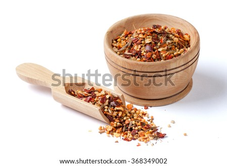 mix spices isolated on white - stock photo