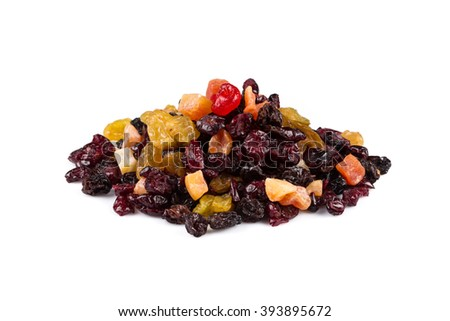 Mix variety of dried fruit over white background - stock photo