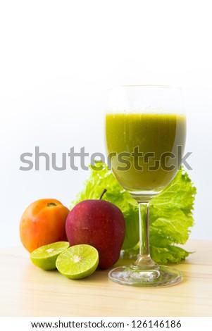 mix vegetable juice blend isolated on white - stock photo