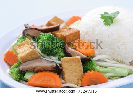 Mix Vegetable Stir Fried with Steam Rice - stock photo